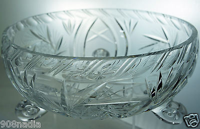 VINTAGE CUT GLASS FOOTED FRUIT/SALAD BOWL PINWHEEL ETCHED BEAUTIFUL