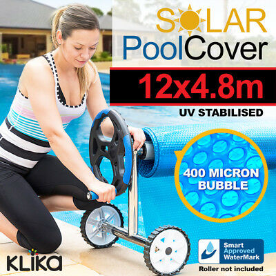 APPROVED 12 x 4.8m UV STABILISED SOLAR SWIMMING POOL COVER BUBBLE BLANKET HEATER