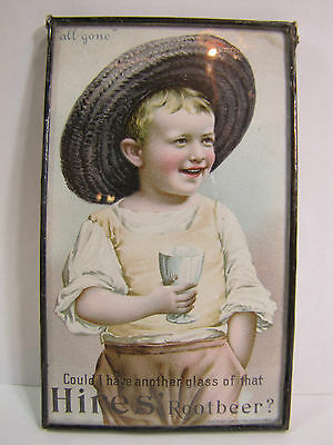 Antique 1895 Hires Root Beer Advertising Trade Card framed under 2 sided glass