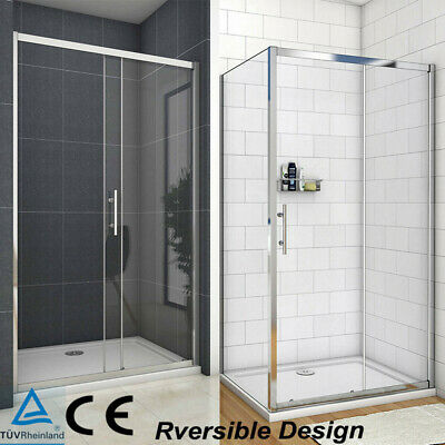 Walk In Sliding Shower Door Enclosure Glass Screen Cubicle Side Panel+Stone Tray