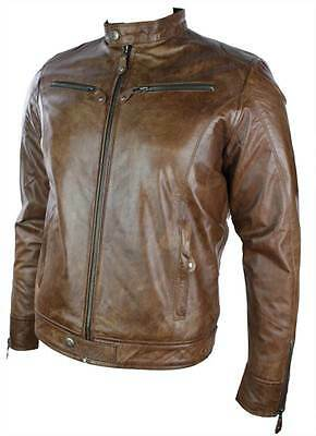 Mens Real Leather Jacket Biker Style Vintage Tan Brown Zip Pockets Casual Retro