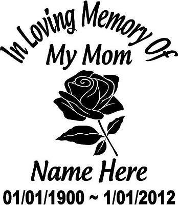 "In Loving Memory Of FLOWER ROSE 14"" Mom Decal Window Sticker Custom Memorial car"