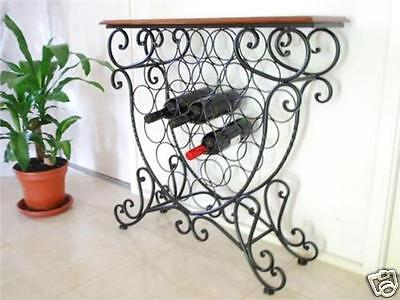 Handmade Iron Elegant French Bottle Wine Rack Storage Console Table 092012-001