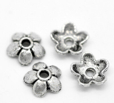 """300PCs Silver Tone Flower Bead End Caps Findings 6mmx6mm( 2/8""""x 2/8"""")"""