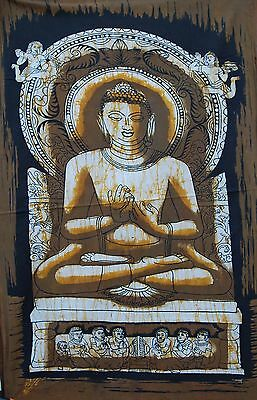 BATIK  BUDHA THREE BROWN   80x56 cm. algodón (para enmarcar)