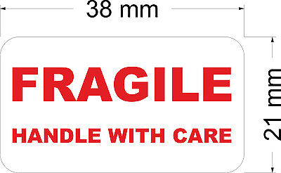 650 x FRAGILE HANDLE WITH CARE - Labels / Stickers 38 x 21 mm