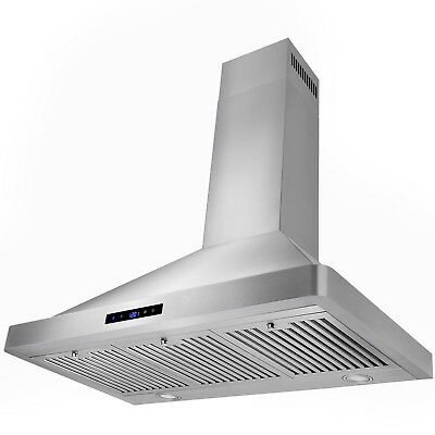 "36"" Europe Style Stainless Steel Kitchen Wall Mount Range Hood LED Touch Control"