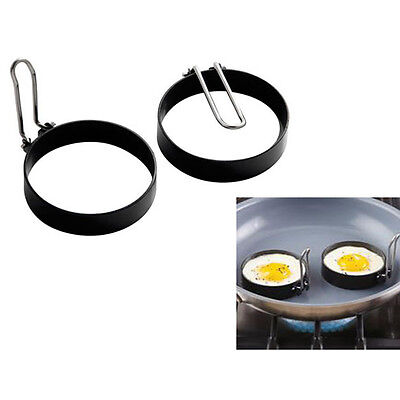 New Set Of 2/4/6 Non Stick Egg Rings With Folding Handles Poached Or Fried Eggs