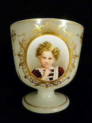 Moser Glass Cup Wonderful Hand Painted Child Portrait On Porcelain - Circa 1880