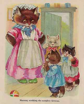 Three Little Kittens-ANTIQUE Vintage COLOR Art PRINT-Nursery Rhyme Picture-Mammy