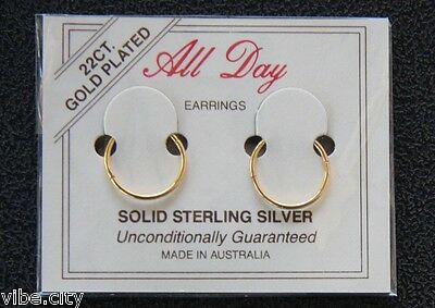 22ct Gold Plated Sleepers Hoops HINGED Earrings 5 sizes! Australia made!