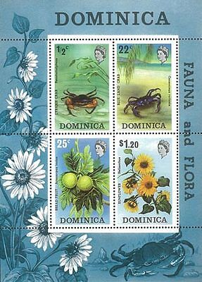 Dominica Stamp, WWF043 Crab, Marine Life, Flower, Flora, Fruit, Beach Place