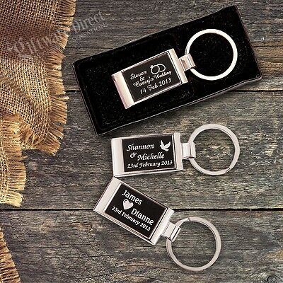 Personalised Engraved Gift Box Solid Keyring Wedding Favour Bomboniere Custom