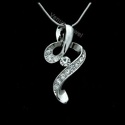 Clear Rhinestone Crystal Silver Pendant Necklace P064