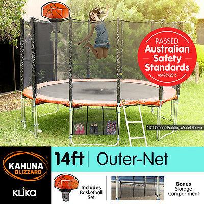14ft ROUND TRAMPOLINE FREE SAFETY NET+PAD+MAT+LADDER+SHOE TIDY+BASKETBALL SET