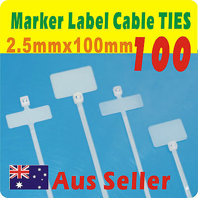 100 x  Nylon Mark Tags Label Cable Ties 2.5mmX100mm