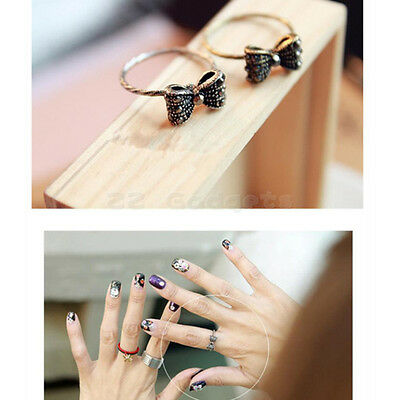 Korean Fashion Retro Lovely Sweet Rhinestone Crystal Beads Bowknot Bow Tie Ring