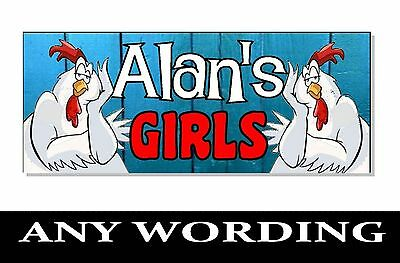 Personalised NAME CHICKEN ACRYLIC Sign Plaque House bantam Run coop cage hen egg