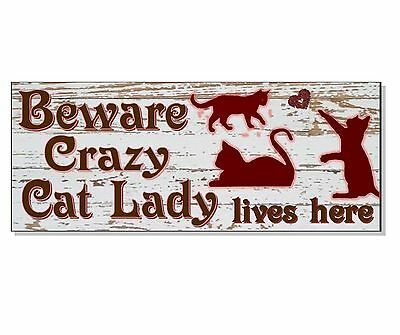 FUNNY CRAZY CAT LADY ACRYLIC SIGN Plaque house front wall door garden gift idea • EUR 7,60