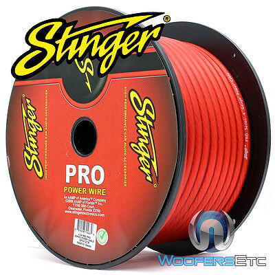 Stinger Spw14Tr-100 Pro Hpm 4 Gauge Awg Red 100 Feet 1400W Power Wire Cable Cord