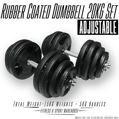 20KG Dumbbell Set Adjustable Solid Rubber Coated Weights Fitness Gym Strength