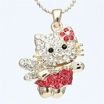 Gold Red Hello Kitty Fairy Angel Rhinestone CrystalPendant Necklace P764