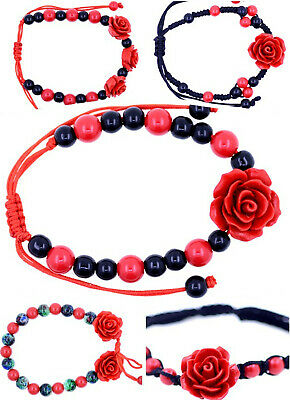Red Lacquer Rose bracelet, necklace, earrings, ring, choose your favourites.