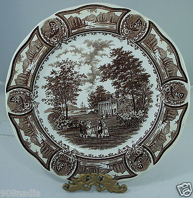 VINTAGE BROWN AMERICANA DINNER PLATE- IRONSTONE-J&G MEAKIN ENGLAND-STYLE HOUSE