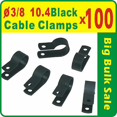 100 x UC2B 3/8'' 10.4mm R Type Black  Nylon Cable Clamps