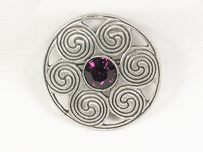 Celtic circles jewelled Pewter Brooch