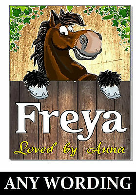 Personalised NAME /S BAY Horse pony Sign Plaque stable door tack room GIFT box