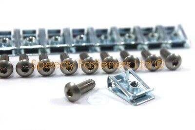 Pack of 10 Motorcycle Fairing Spire Clips & Std. Stainless Bolts m5 5mm x 16mm