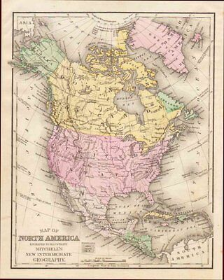 North America, Hand Colored Map, Mitchell, Antique, Original 1890