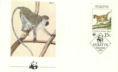 (70318) FDC  - ST.Kitts  - Monkey - 1986