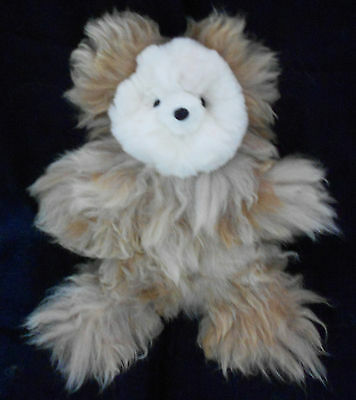 """NEW 100% Baby Alpaca 18"""" Teddy Bear Stunning and Soft – Beige White and Brown"""