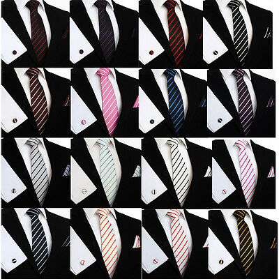 DQT Woven Single Stripe Formal Casual Mens Tie, Pocket Square Hanky & Cufflinks