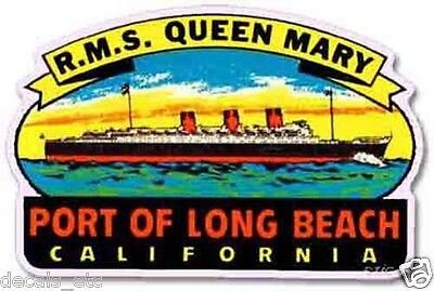 Queen Mary, Long Beach Vintage Style Travel Decal / Vinyl Sticker, Luggage Label