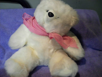 """HEARTLINE PLUSH WHITE BEAR WITH PINK SCARF 16"""" TALL VERY GOOD CONDITION CUTE"""