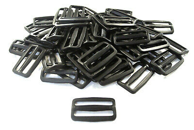 50mm Black Plastic 3 Bar Slides For Webbing Bags Straps Crafts x10 x25 x50 x100