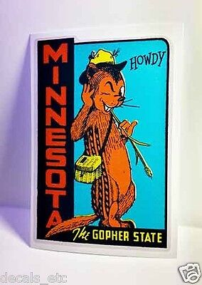 Minnesota Vintage Style Travel Decal / Vinyl Sticker, Luggage Label