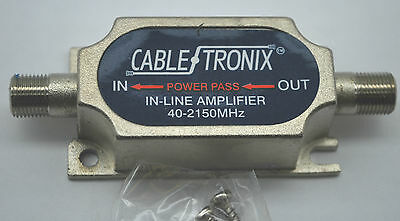 New Cabletronix In Line Satellite Amplifier 20Db Gain 40-2150 Mhz Power Passing