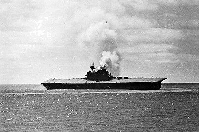 New 5x7 World War II Photo: Sinking of the USS YORKTOWN after Battle of Midway