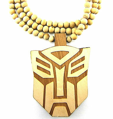 Wooden Transformers Autobot Pendant Piece Chain Bead Necklace Good Wood Style