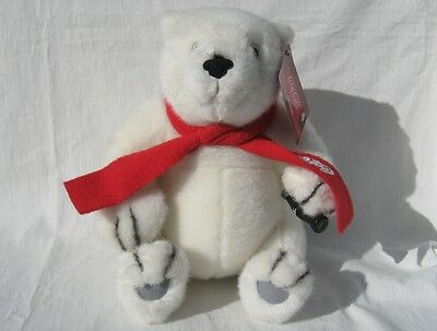 Coca-Cola White Plush Polar Bear with Bottle of Coke and Scarf So Cute