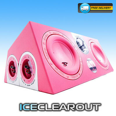 """In Phase XTP208 Double 8"""" Car Subwoofer Enclosure 2000 Watts Pink Leather Effect"""