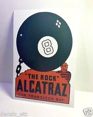 "Alcatraz ""The Rock"" Vintage Style Travel Decal / Vinyl Sticker, Luggage Label"