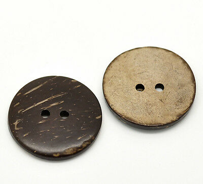 """60PCs Brown Coconut Shell 2 Holes Sewing Buttons Scrapbooking 30mm(1-1/8"""")Dia."""