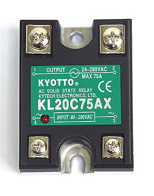 10pc KYOTTO AC Solid State Relay SSR KL20C75AX Load=24~280VAC 75A [ AC to AC ]