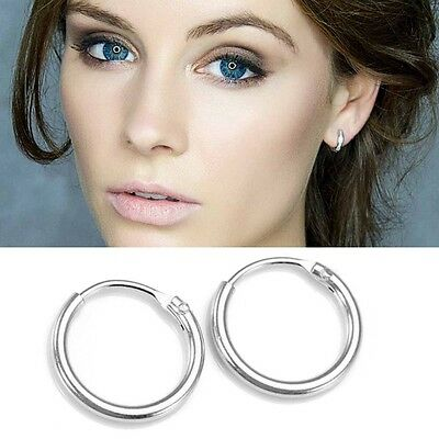925 Sterling Silver Hinged Hoop Nose Earrings 8,10,12,14,16,18,20,25,40,50mm