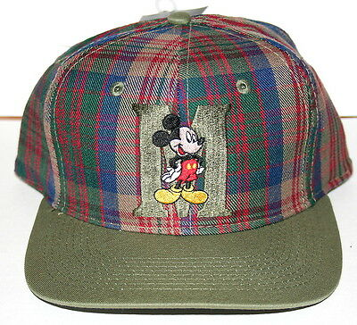 Vintage Mickey Mouse Disney Unlimited M Hat Baseball Cap Olive Plaid New NOS 90s